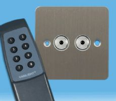 V-Pro IR, 2 Gang, 100 Watt Remote Control/Touch LED Dimmer, Ultra Flat Brushed Steel inc Remote